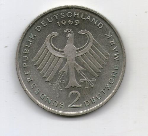 Alemania Moneda 1969 J 2 Mark - Km#124 - Argentvs