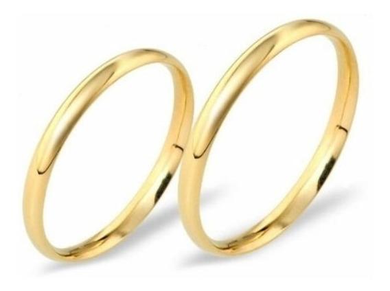 Par Aliança 2mm Tradicional Tungstenio Banhada A Ouro 2mm