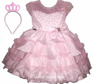Vestido Festa Luxo Minnie Realeza Princesa Aurora E Coroa