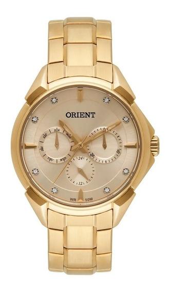 Relógio Orient Dourado Feminino Com Pedras Fgssm061 C1kx