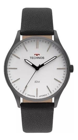 Relógio Technos Masculino Pulseira De Couro Classic Steel Ref. - 2035mqq/2b
