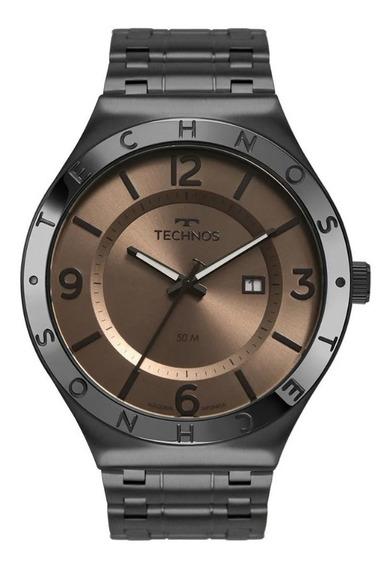 Relógio Masculino Technos Preto Fosco Analógico Classic + Nf