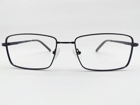 bf2624a7d Armação Óculos Titanium Flexível Preto Rosto Largo 7106 C1