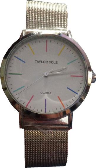 Relógio Taylor Cole Analógico Casual Ar00001 Prata E Branco