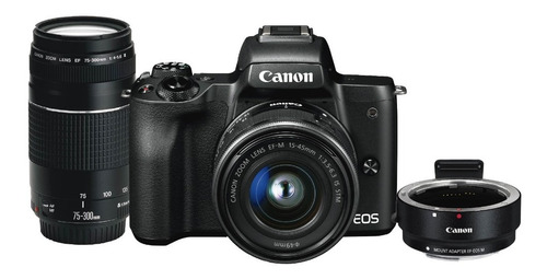 Camara Canon Eos M50 (combo 55)c/ Ef 15-45 Is+ef75-300+adap.