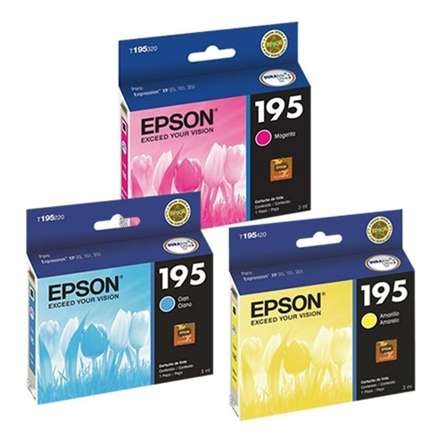 Combo Cartuchos Epson Colores Original 195 T195 Xp201 Xp211