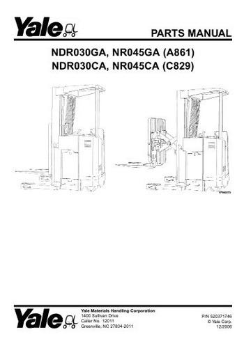 Manual Pecas Empilhadeira Yale Ndr030 Nr045 Serie A861 Pg266