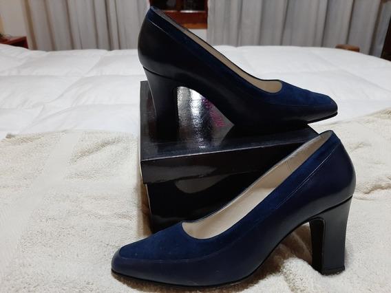 Stilettos Vintage Cabritilla Y Gamuza Azul T.37
