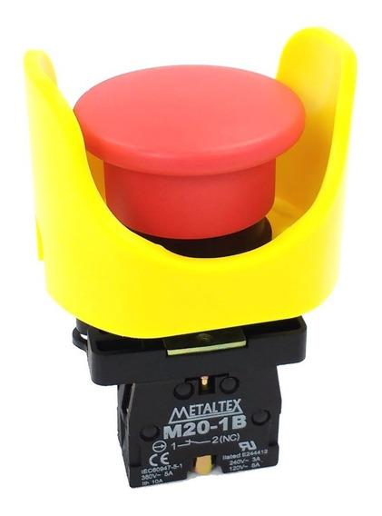 Botão Pulsador Nf 22mm Com Guarda Anti-acionamento Acidental