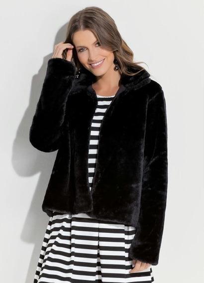 Casaco De Pelos Fur Coat Preto