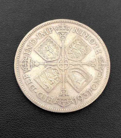 Moeda Antiga Prata Inglaterra 1931 One Florin George V