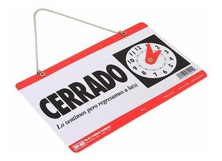 Letrero De Abierto-cerrado Con Reloj Ventosa Ambos Lados
