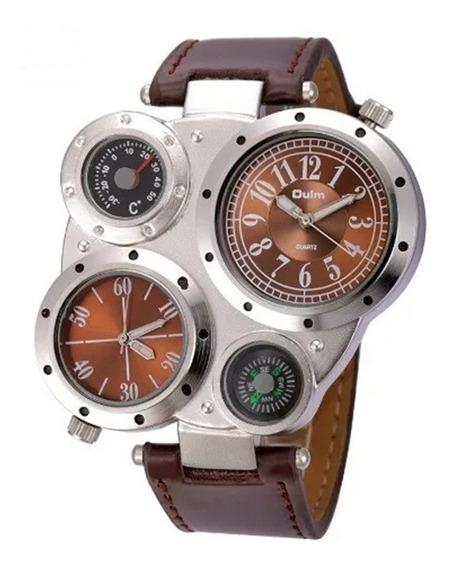 Relógio Masculino Marrom Militar Russo Bússola E Termômetro