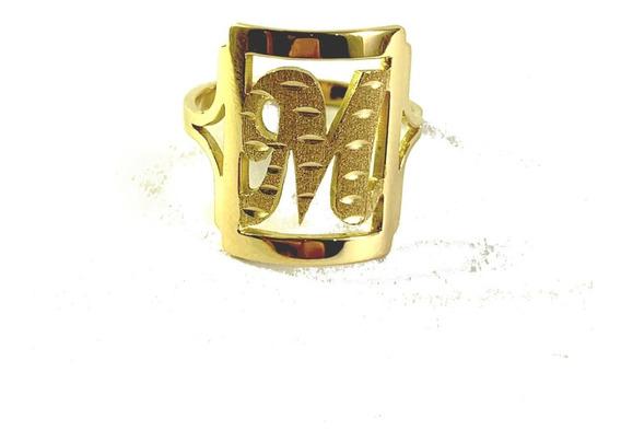Anel De Letra 3,0g Em Ouro 18k - 750