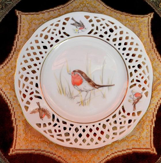 Plato Decorativo Y Calado En Porcelana Alemana Burg Lindau