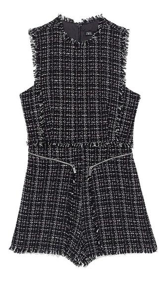 Vestido Corto-jumper-zara-tweed-forrado Talle S