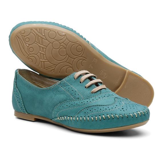 Sapato Social Feminino Top Franca Shoes Oxford Camurça Prata