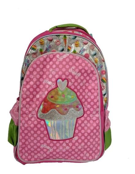 Mochila Infantil Sweet Girl Cupcake Rosa Santilo