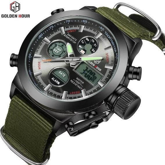 Relógio Esportivo Militar Golden Hours Pulseira De Nylon