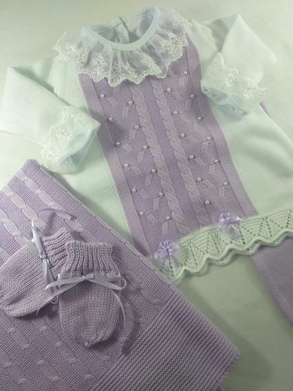 Saida Maternidade Vestido Trico Linha Pérolas 5 Peças Lilas