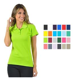 Kit 4 Camisas Polo Piquet Feminina Manga Curta 27114 Algodão