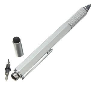 Pluma Multiherramienta, 7 Funciones, Desarmador, Aluminio