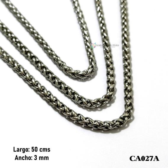 Cadena Tubular 50cms 3mm Acero Inoxidable Plateado
