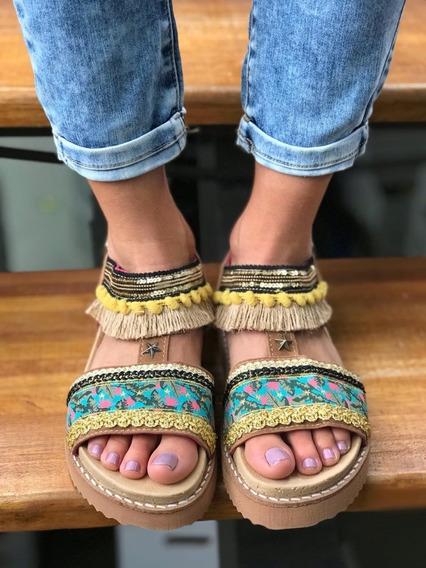 Sandalias Mujer Rocas Hindu Bajas Mexico Gamuza Flecos