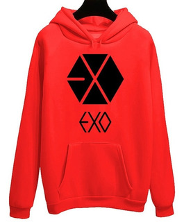 Blusa Moletom Canguru Exo Logo Grupo Kpop Kawaii