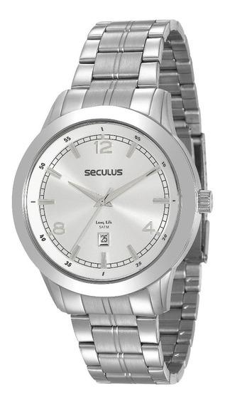 Relógio Seculus 2 Anos Garantia Pulseira Aço 20584g0svna2
