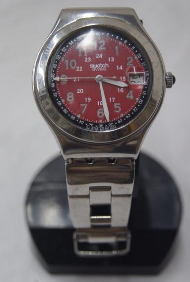 Relógio De Pulso Swatch Swiss Prata E Vermelho