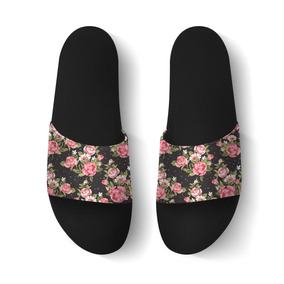 Chinelo Slide Beach Floral Preta Feminina Sandalia Rasteira