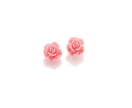 Brinco Rommanel Formato Rosa De Resina Ref: 524575