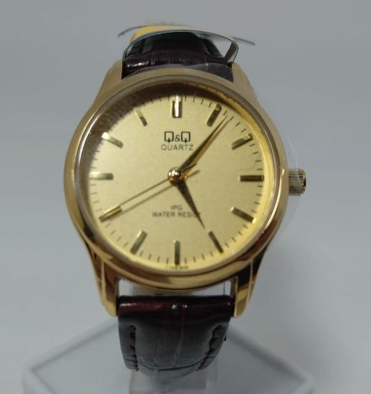 Relógio Q&q By Citizen Dourado Pulseira Em Couro C169j800y