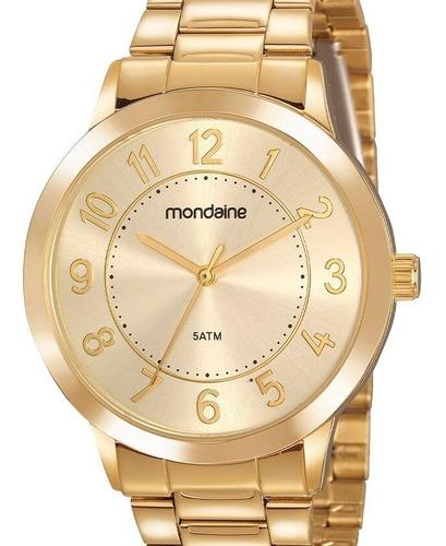 Relógio Mondaine Feminino Dourado Fundo Dourado
