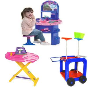 Combo Tocador Tabla Planchar Set Limpieza Infantil 2a6 Años