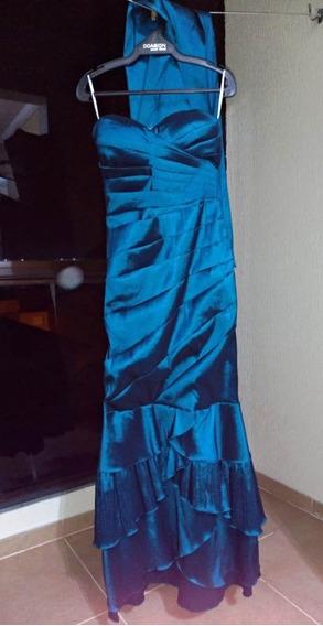 Vestido Longo Formatura Azul Petróleo - Tamanho P (usado)