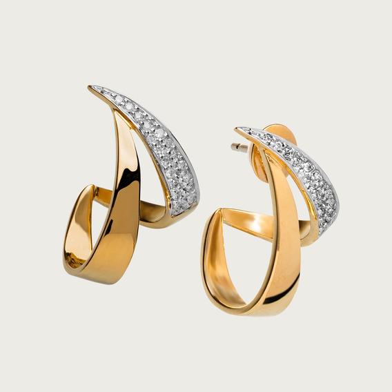 Brinco Em Ouro 18k Com Diamantes - Linha Dinâmica