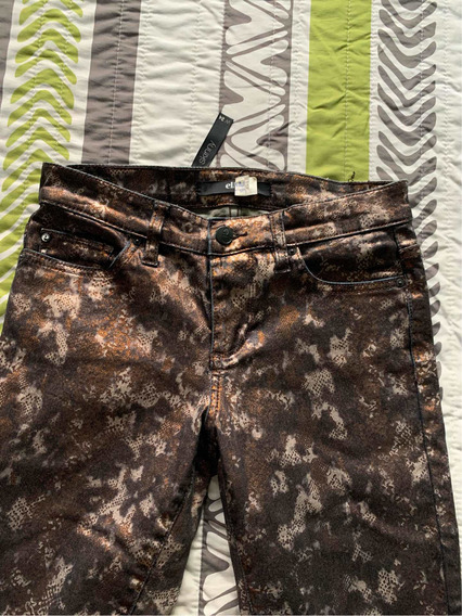 Jeans Metálicos Animal Print Skinny Else Stretch