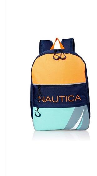 Mochila Escolar Nautica Niños Nuevo Original Etiquetada