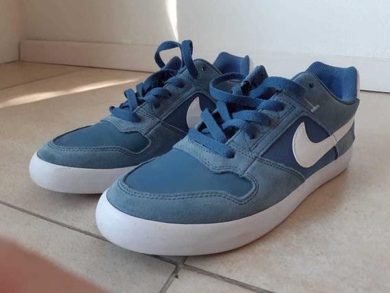 Zapatillas Nike Sb Delta Force Vul Celeste Y Blanca