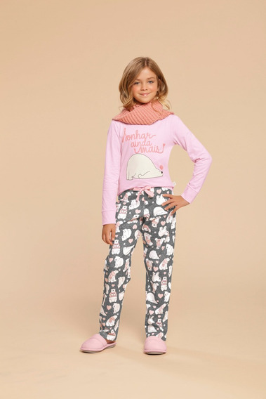 Pijama Manga Longa Infantil Feminino Ref - 014883