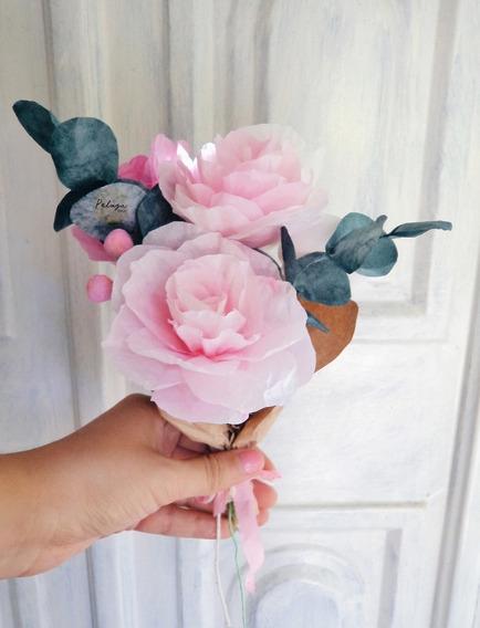 5 Flores De Papel Ramo De Rosas Teñidas Artesanalmente