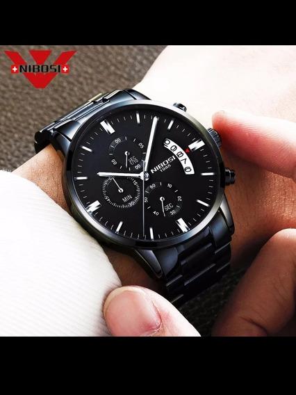 Nibosi 1985 Preto Relógio De Luxo Original !!!