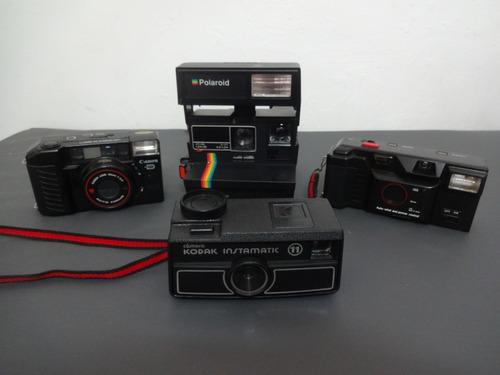 Kit Com 4 Cameras Antigas (kodak, Polaroid, Yashica E Canon)