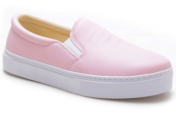 Tenis Plataforma Feminino Rosa Sem Cadarço Com Elástico Leve