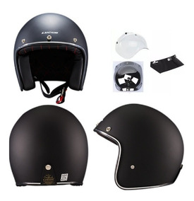 Capacete Lucca Custom Old School Matt Black - Full