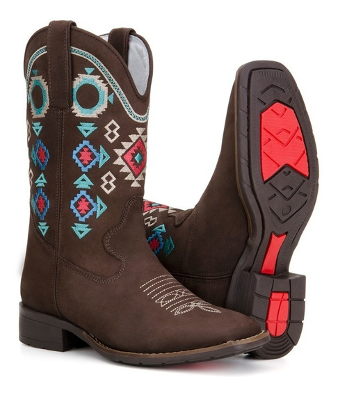 Bota Feminina Country Texana Rodeio Bico Quadrado Capelli