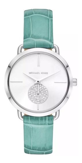 Reloj Nuevo Dama Michael Kors Mk2720 Cuero De Croco Turquesa