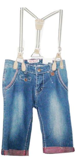 Capri Pescador Pantalon Jeans Marinero Tirantes Niño/a $390a